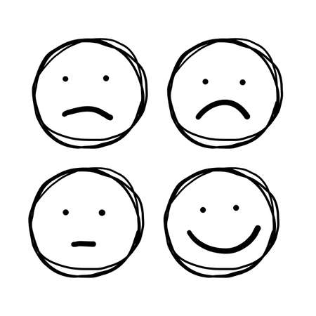 Hand drawn Outline Faces Different Moods doodle style