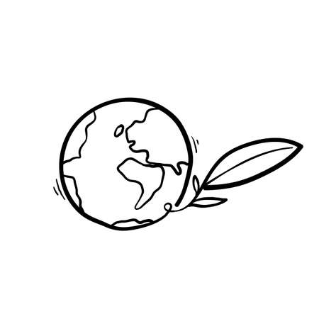hand drawn doodle eart with seed plant symbol for Eco environment cartoon