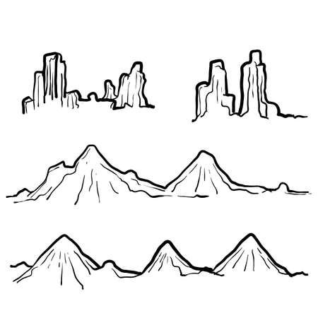 hand drawn doodle mountain illustration with line art style Çizim