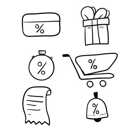 hand drawn Loyalty card, incentive program vector icon set, earn bonus points for purchase, discount coupon, limited time period, cash back, redeem gift, grocery basket.doodle vector