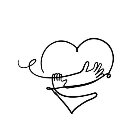 hand drawn doodle heart with hand hug gesture illustration vector