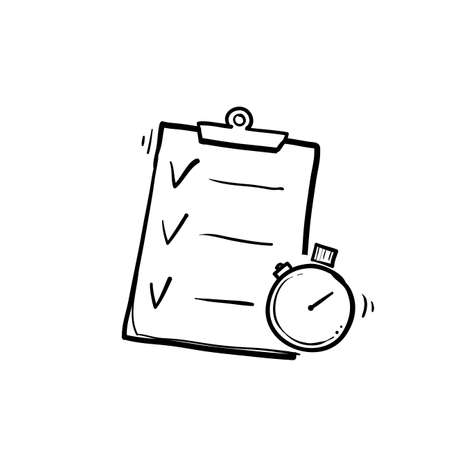 hand drawn Fast services, check list and stopwatch, to do plan, procrastination and efficiency, project management, quick questionnaire, short survey, doodle