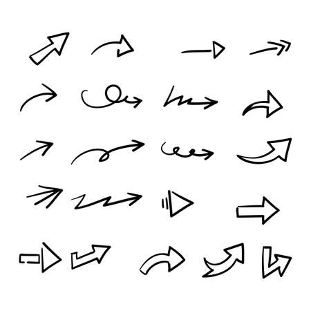 hand drawn doodle arrow collection icon vector Vettoriali