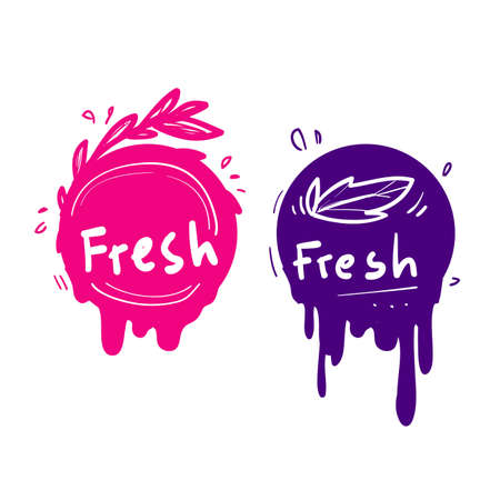 hand drawn doodle juice fresh label fruit icon colorful vector Illustration