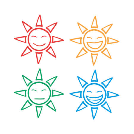 hand drawn sun emoticon series icon with doodle style vector