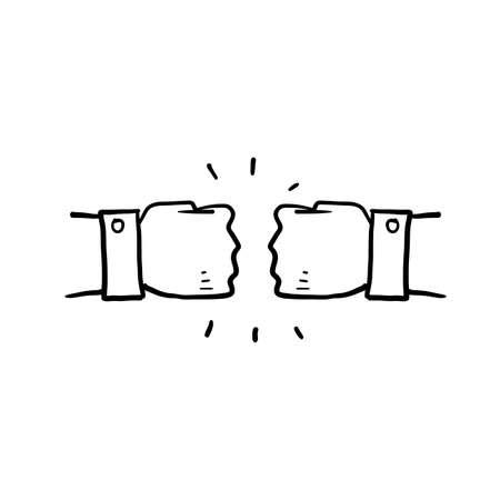 hand drawn fist bump icon illustration vector doodle Illustration