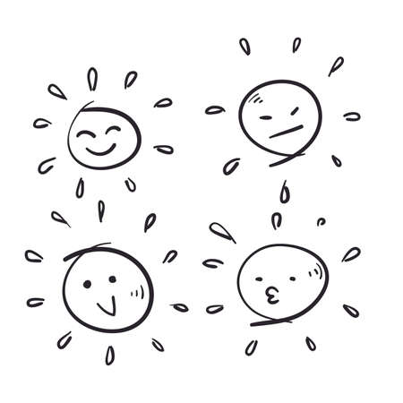 hand drawn sun emoticon series icon with doodle style vector Illustration