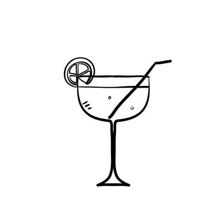 hand drawn martini cocktail icon illustration vector isolated