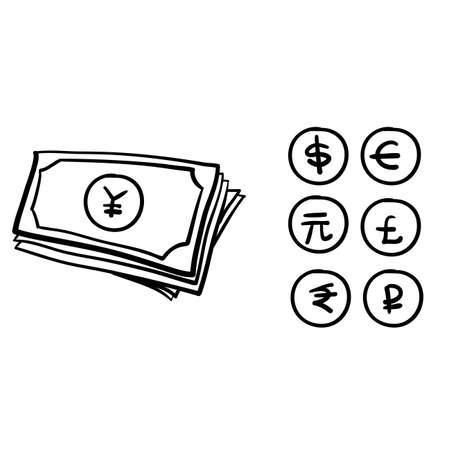 Set of hand drawn the most popular currency symbol. Dollar, euro, yen, yuan, pound, rupee, ruble signs doodle vector