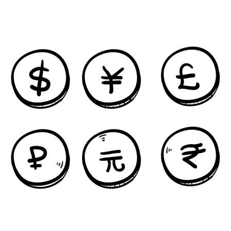Set of hand drawn the most popular currency symbol. Dollar, euro, yen, yuan, pound, rupee, ruble signs doodle vector Illustration