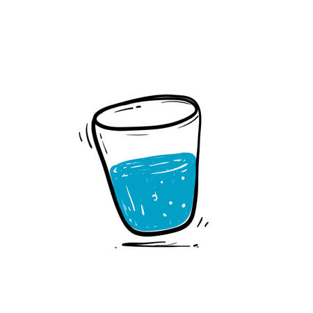 hand drawn glass of water drink illustration icon doodle