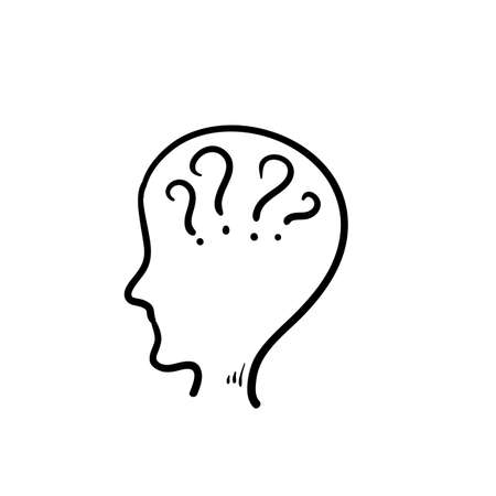 hand drawn doodle Big head with question marks inside brain icon vector