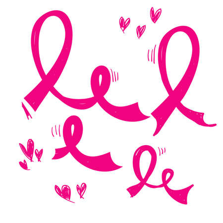 hand drawn pink ribbon symbol for breast awareness cancer vector icon doodle
