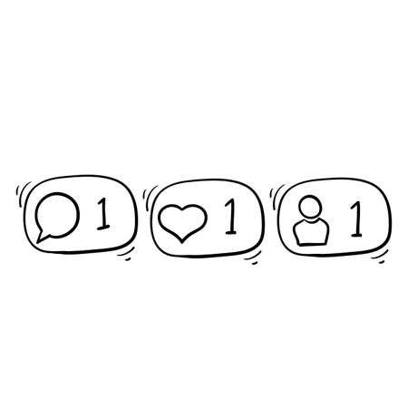 hand drawn doodle follower notification icon.Social network signs. Social media comment, like, follower illustration.doodle Illustration