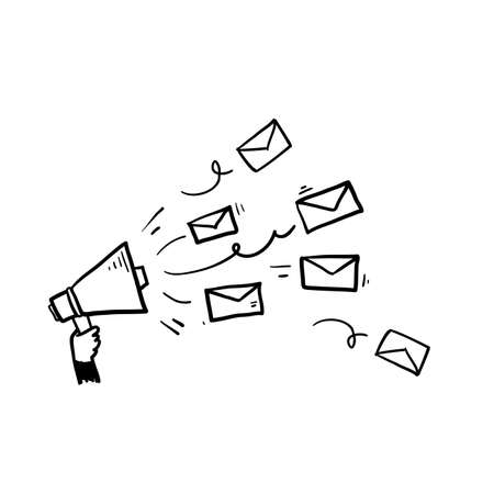hand drawn hand holding megaphone and envelope symbol for newsletter icon illustration vector
