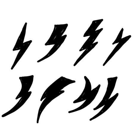 hand drawn thunderbolt lightning icon doodle vector