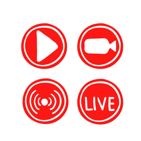 Set hand drawn of live streaming icons. Set of video broadcasting and live streaming icon. Button, red symbols for TV, news, movies, shows. doodle Illustration