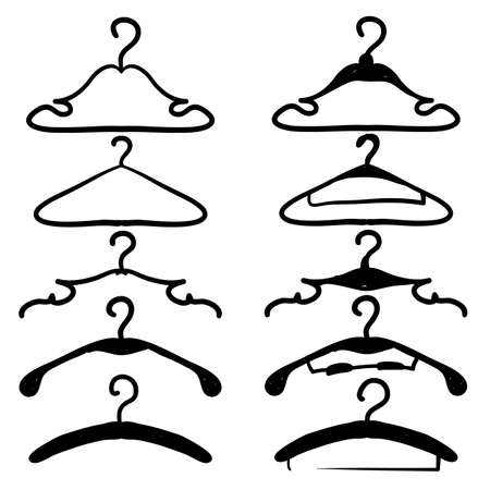 hand drawn suit hanger icon illustration vector doodle
