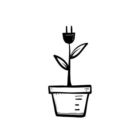 hand drawn Green energy electricity, electric plug icon sign with cord plant leaves doodle