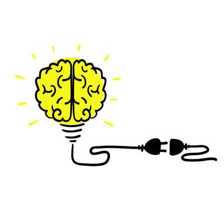 hand drawn doodle Idea concept, human brain in light bulb, creative bulb sign, innovations. vector