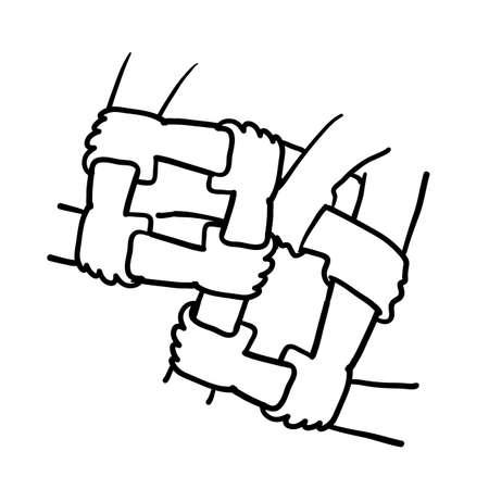hand drawn hands holding each other symbol for Diversity Business Team ilustration doodle Illustration