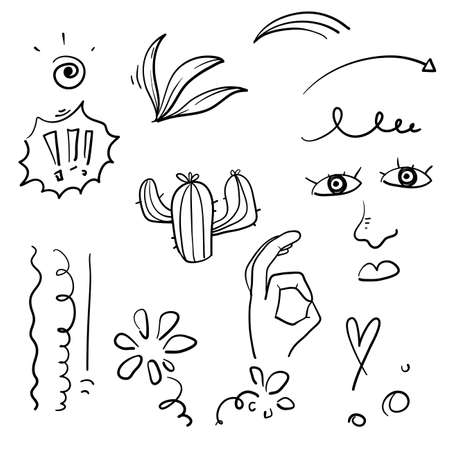 Big set of hand drawn various shapes and doodle objects. Abstract vector illustration. doodle style
