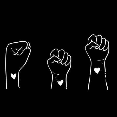 Hand drawn fist symbol for black lives matter protest in USA to stop violence to black people. Fight for human right of Black People in U.S. America. doodle