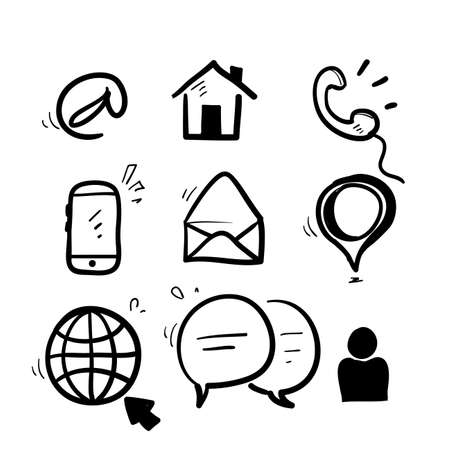 hand drawn doodle contact icon illustration vector isolated background