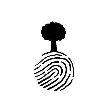 hand drawn human finger print with tree doodle