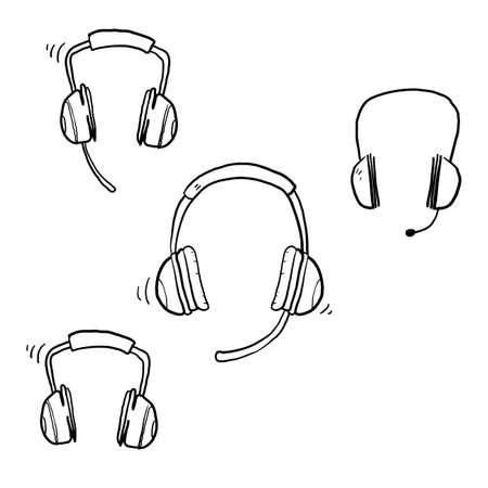 hand drawn doodle headphone icon set illustration vector isolated background