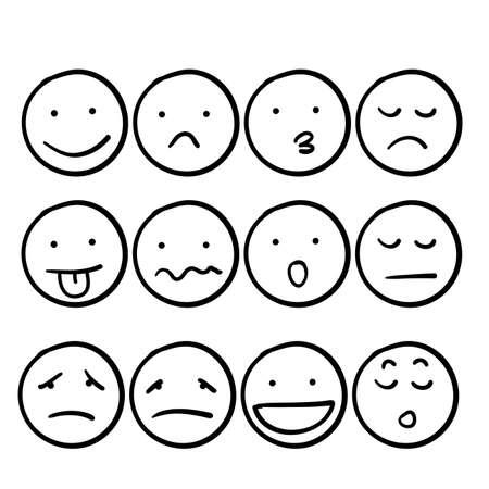 hand drawn doodle smiley emoticon illustration set cartoon