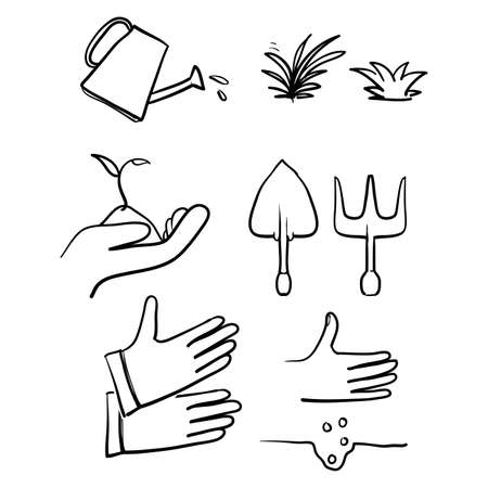 hand drawn Simple Set of Gardening Related Vector Line Icons with doodle style vector isolated