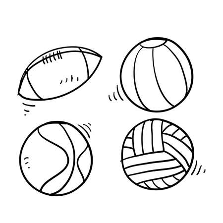 hand drawn doodle ball sport collection icon isolated background Illustration