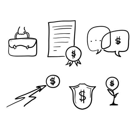 hand drawn Simple Set of Business and money Related Vector Line Icons. with doodle style