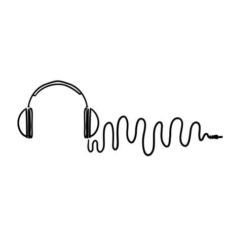 hand drawn doodle Headphones with wave cord, music symbol cartoon vector