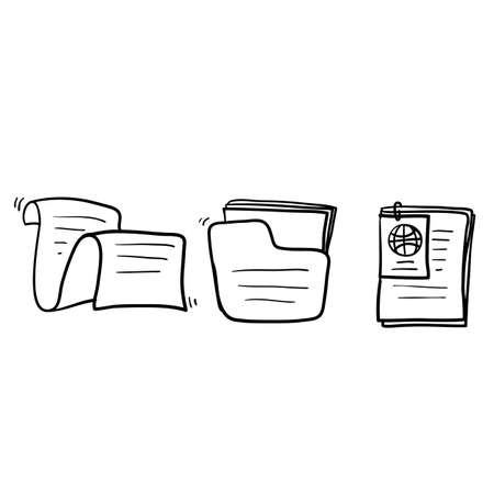 Simple Set of Documents Related Vector Line Icons with hand drawn doodle style vector isolated