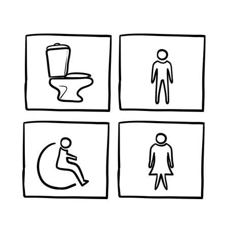 hand drawn doodle toilet icon set illustration vector isolated Illustration