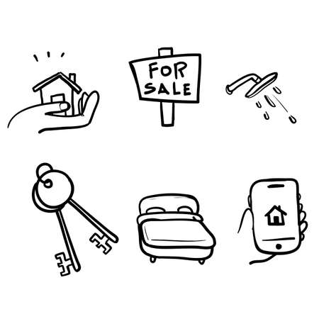 hand drawn Simple Set of Real Estate Related Vector Line Icons. with doodle style vector