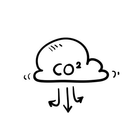 hand drawn cloud with co2 symbol icon illustration doodle 矢量图像