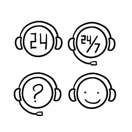 hand drawn doodle customer support icon illustration vector isolated