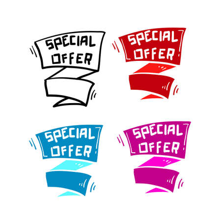 hand drawn special offer banner ribbon illustration vector isolated background. doodle