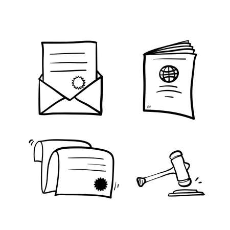 hand drawn doodle set of legal document icon illustration symbol Illustration