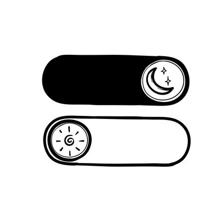 hand drawn doodle day night switch button icon illustration vector isolated Illustration