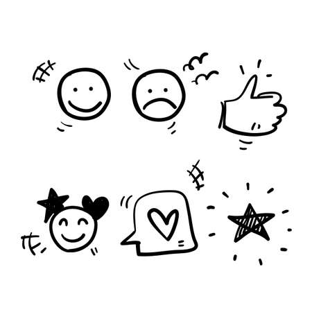 hand drawn Simple Set of Customer Satisfaction Related Vector Line Icons. with doodle style vector isolated