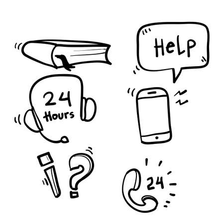 hand drawn Simple Set of Help And Support Related Vector Line Icons. with doodle cartoon art style vector Illustration