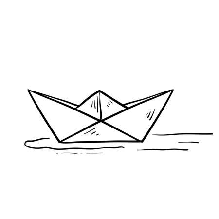 hand drawn paper ship doodle illustration icon isolated