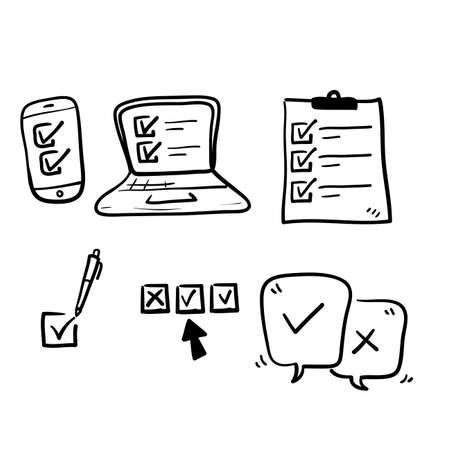 hand drawn Simple Set of Survey Related Vector Line Icons with doodle style vector