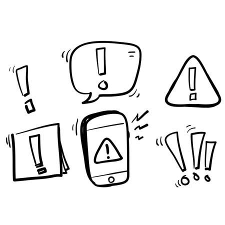 Simple Set of hand drawn Warnings Related Vector Line Icons. doodle style Illustration