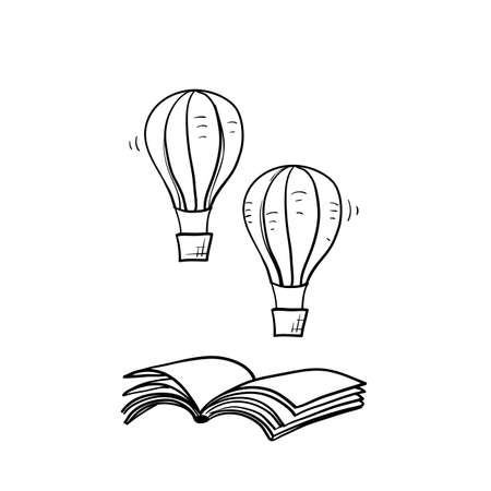 hand drawn book and air balloon illustration vector doodle