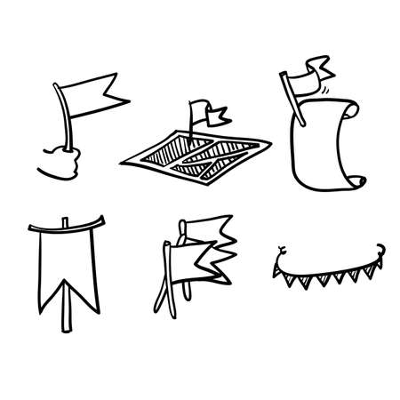hand drawn doodle flag related icon collection vector isolated